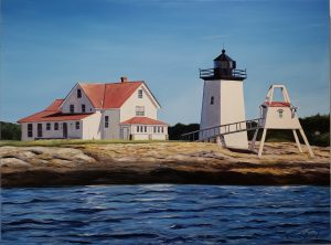 hendrick's head lighthouse southport maine original oil painting maria boord