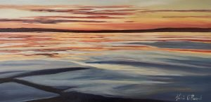 Sky and water sunset original oil painting maria boord boothbay harbor