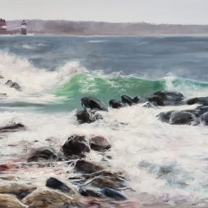 Ocean Point Maine, Oil seascape, Ram Island, Maria Boord