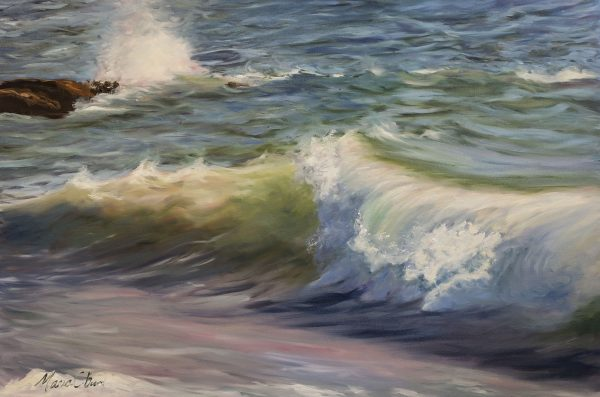 """The End of the Breakwater, 24"""" x 36"""", Original oil painting on canvas"""