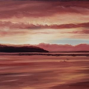 Bar-Harbor-Sunset-12x48-original-oil-painting-on-canvas